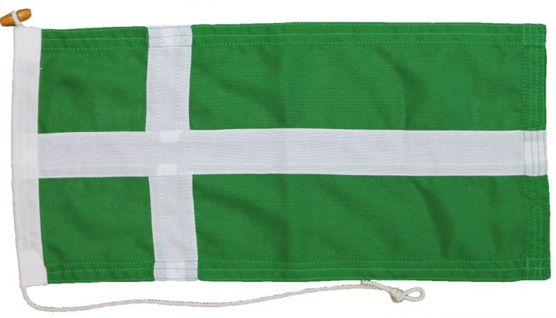Isle of Barra flag buy mod quality sewn rope toggled uk woven polyester traditional island bara green nordic white cross northern scotland hebrides marine grade
