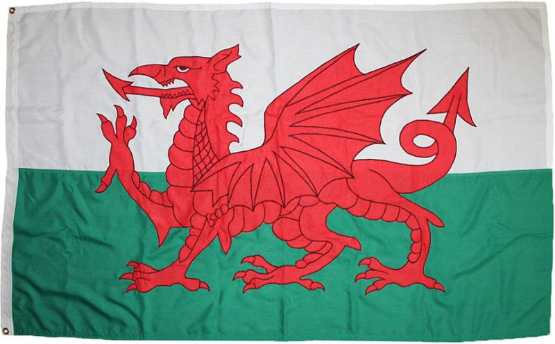 Wales sewn embroidered flag stitched Welsh Dragon buy price sewn uk woven MOD flag fabric